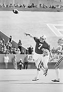 1977 Sun Bowl, Stanford v LSU, December 31, 1977 at Sun Bowl Stadium, University of Texas El Paso, El Paso, Texas.  Guy Benjamin #7 throws a TD pass to James Lofton.