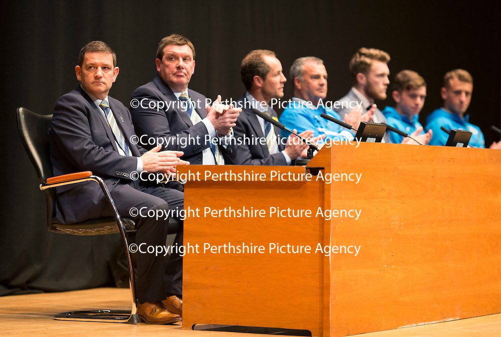 St Johnstone FC Academy Awards Night...06.04.15  Perth Concert Hall<br /> Chairman Steve Brown and Manager Tommy Wright applaud<br /> Picture by Graeme Hart.<br /> Copyright Perthshire Picture Agency<br /> Tel: 01738 623350  Mobile: 07990 594431