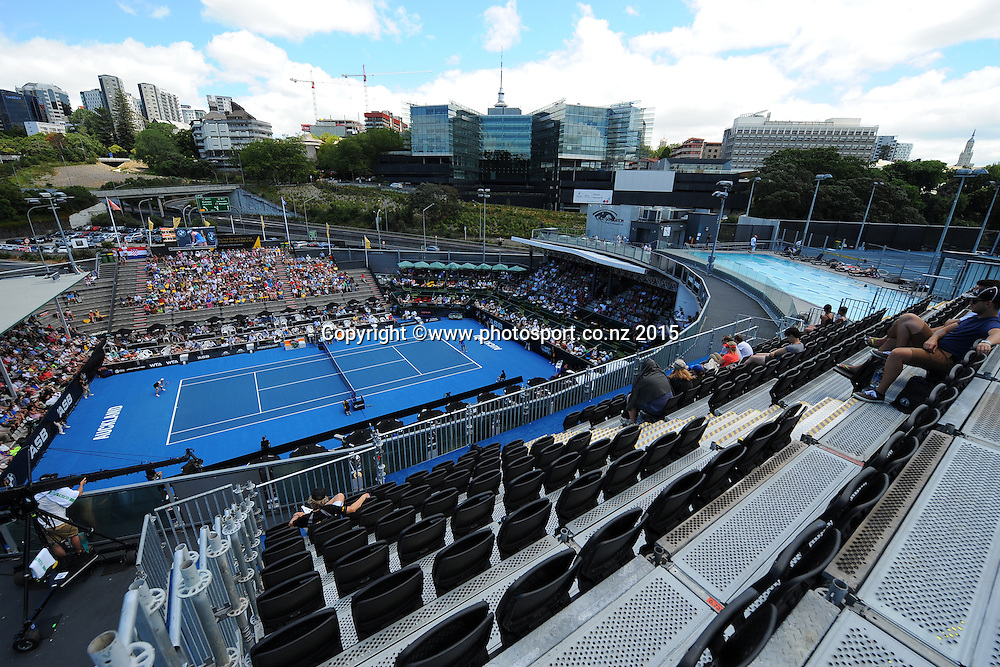 Generall view of centre court from the new stand on Day 3 of the ASB Classic Women's International. ASB Tennis Centre, Auckland, New Zealand. Wednesday 7 January 2015. Copyright photo: Chris Symes/www.photosport.co.nz