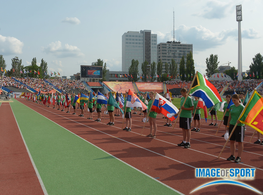 Jul 10, 2013; Donetsk, UKRAINE; General view of the flags of participating nations during the opening ceremonies of the 2013 IAAF World Youth Championships at Olimpiyskiy Stadium.