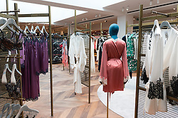 © Licensed to London News Pictures. 04/04/2016. Underwear and night time wear of the new SELFRIDGES Body Studio - the world's first fully integrated bodywear department and the largest retail space ever opened by the iconic London store. Covering over 37,000 sq ft, customers will experience over 3,000 brands and more than 5,000 different clothing options.London, UK. Photo credit: Ray Tang/LNP