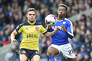 Tyler Hornby-Forbes (12) of Fleetwood Town and Gboly Ariyibi (28) of Chesterfield FC  during the Sky Bet League 1 match between Chesterfield and Fleetwood Town at the b2net stadium, Chesterfield, England on 26 March 2016. Photo by Ian Lyall.