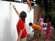 Painting a mural at the Kopila Valley Childrens Home, Surkhet, Nepal