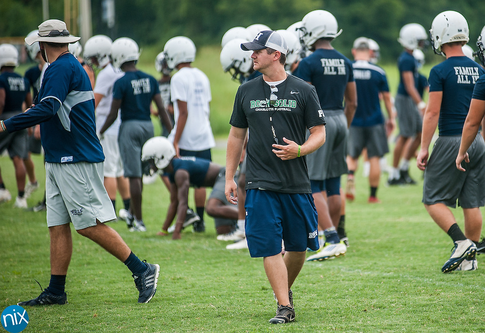 New head coach Jason Seidel during football practice at Hickory Ridge High School.