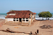 Home on beach in Tamil Nadu. South India.
