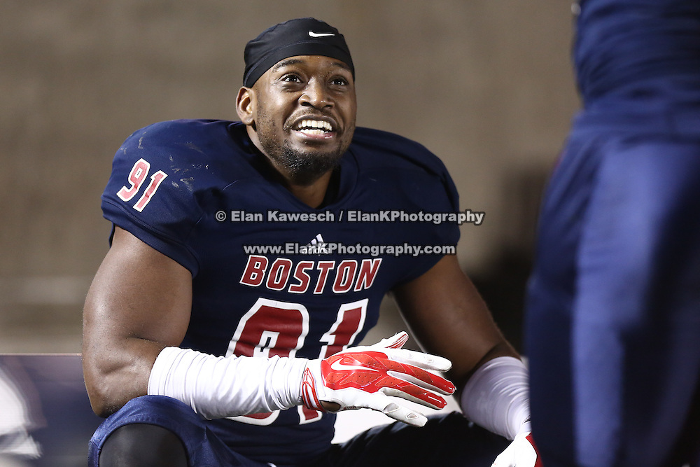 Greg Romeus #91 of the Boston Brawlers is seen on the bench during the first ever Boston Brawlers home game at Harvard Stadium on October 24, 2014 in Boston, Massachusetts. (Photo by Elan Kawesch)