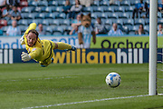 David Button (Brentford) is beaten but the shot just goes wide during the Sky Bet Championship match between Huddersfield Town and Brentford at the John Smiths Stadium, Huddersfield, England on 7 May 2016. Photo by Mark P Doherty.