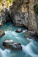 Glacially fed water carves out Marble Canyon in Kootenay National Park, British Columbia