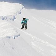 Óliver Hilmarsson skiing down mt. Lambárhnjúkur 1027m. Hvalvatnsfjörður, Iceland.