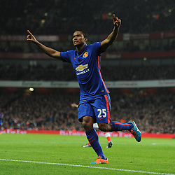 Manchester United's Luis Antonio Valencia celebrates. - Photo mandatory by-line: Alex James/JMP - Mobile: 07966 386802 - 22/11/2014 - Sport - Football - London - Emirates Stadium - Arsenal v Manchester United - Barclays Premier League