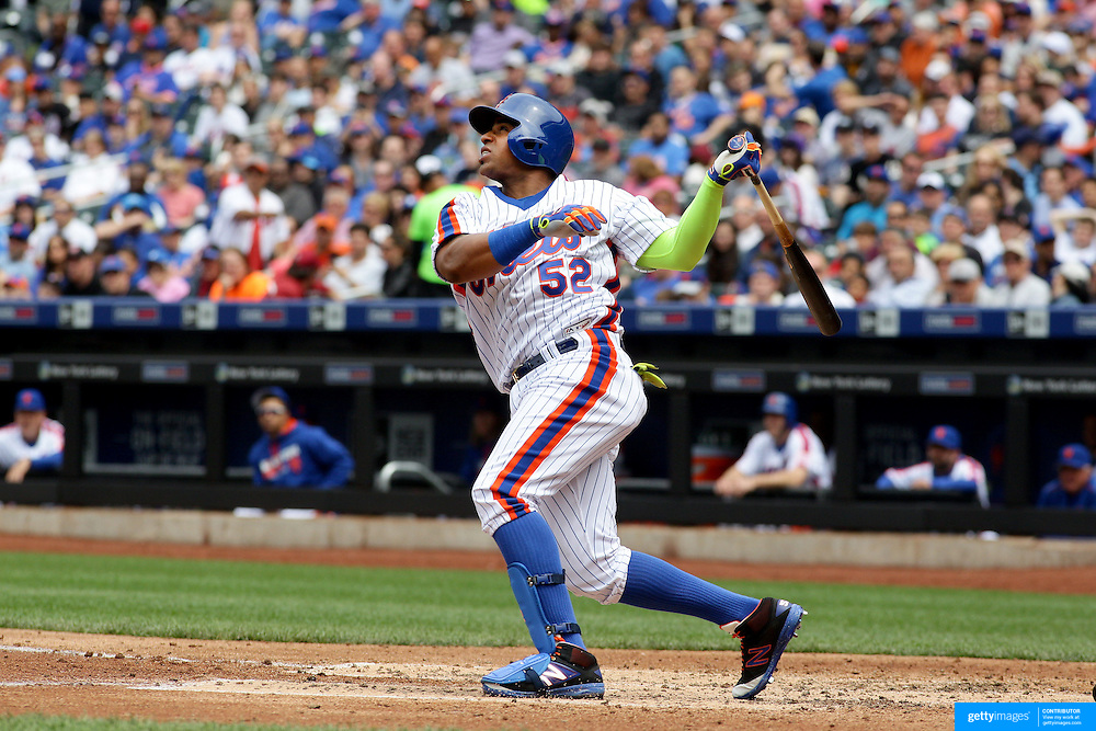 NEW YORK, NEW YORK - May 22:  Yoenis Cespedes #52 of the New York Mets batting during the Milwaukee Brewers Vs New York Mets regular season MLB game at Citi Field on May 22 2016 in New York City. (Photo by Tim Clayton/Corbis via Getty Images)