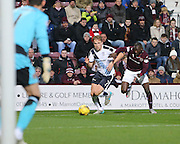 Dundee&rsquo;s Greg Stewart runs at Hearts&rsquo; Juwon Oshaniwa - Hearts v Dundee - SPFL Premiership at Tynecastle<br /> <br />  - &copy; David Young - www.davidyoungphoto.co.uk - email: davidyoungphoto@gmail.com