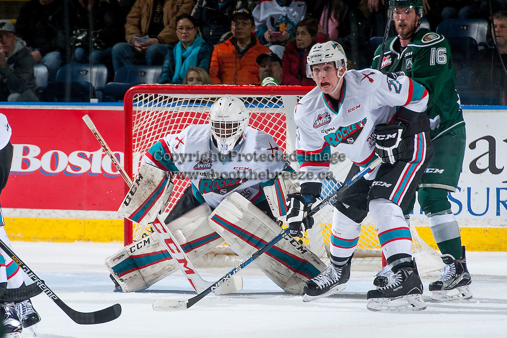 KELOWNA, CANADA - JANUARY 08: Michael Herringer #30 of Kelowna Rockets defends the net against the Everett Silvertips on January 8, 2016 at Prospera Place in Kelowna, British Columbia, Canada.  (Photo by Marissa Baecker/Shoot the Breeze)  *** Local Caption *** Michael Herringer; Cal Foote;