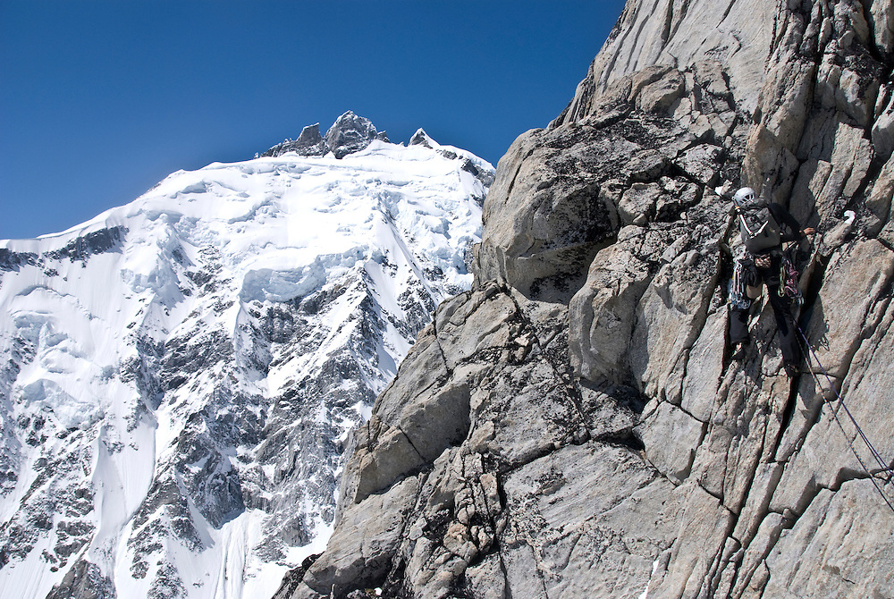 Julia Niles, Mt Tiedemann (ED2 1600m 5.11), Waddington Range, BC,
