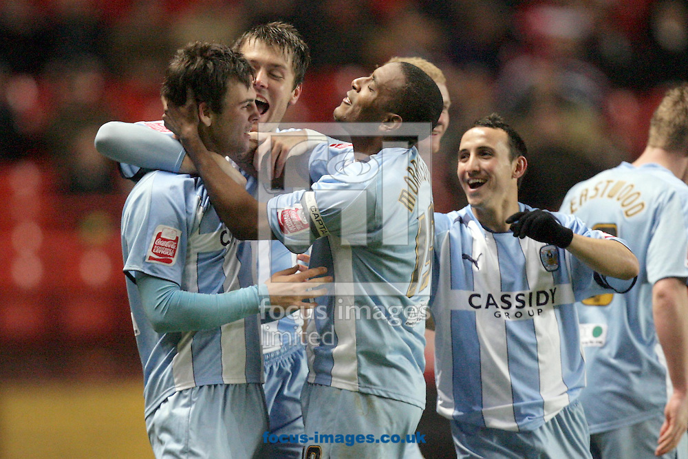London - Tuesday December 8th, 2008: Daniel Fox (L) of Coventry City celebrates his goal with team mates Elliott Ward (C), Clinton Morrison (2nd R) and Michael Mifsud (R) during the Coca Cola Championship match at The Valley, London. (Pic by Mark Chapman/Focus Images)
