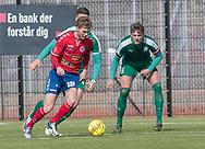FODBOLD: Christoffer Thrane (Slagelse BI) under kampen i Danmarksserien mellem Fredensborg BI og Slagelse BI den 7. april 2018 på Fredensborg Stadion. Foto: Claus Birch