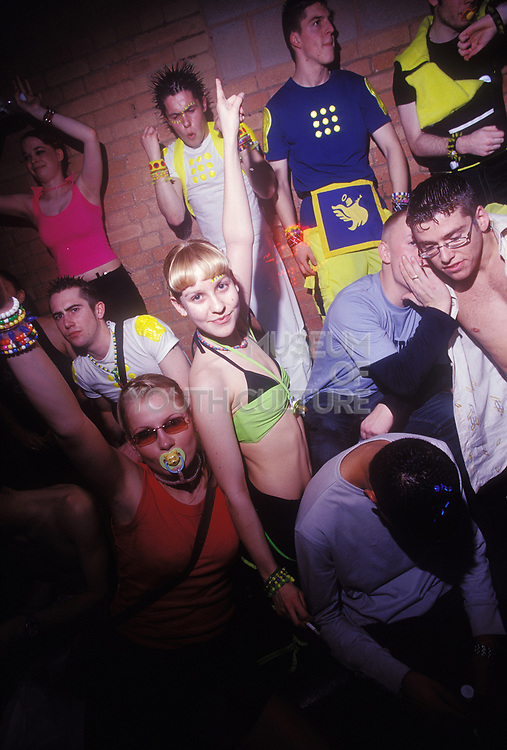 Techno ravers at Gods Kitchen looking the part, UK 2000's