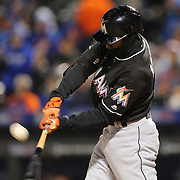 NEW YORK, NEW YORK - APRIL 12: Dee Gordon, Miami Marlins, fouls off a pitch from Jim Henderson, New York Mets, during his sixteen pitch at bat during the Miami Marlins Vs New York Mets MLB regular season ball game at Citi Field on April 12, 2016 in New York City. (Photo by Tim Clayton/Corbis via Getty Images)