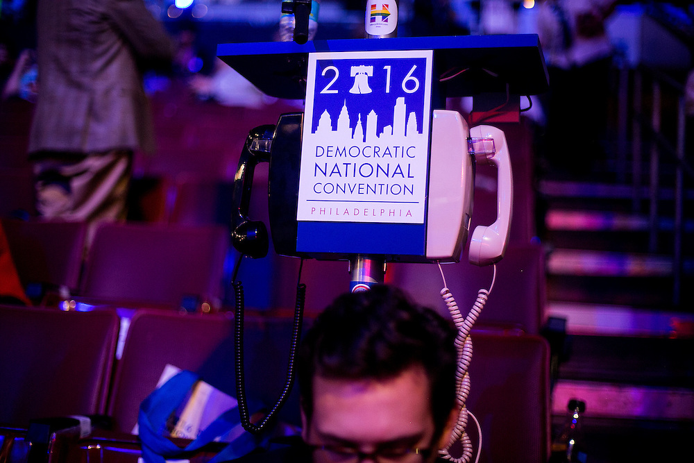 PHILADELPHIA, PA - JULY  28, 2016: A view from the floor before the final night of the Democratic National Convention in Philadelphia, Pennsylvania. CREDIT: Sam Hodgson for The New York Times. <br /> <br /> NYTDNC