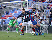 Julian Speroni watches as Greg Stewart shields the ball in the Crystal Palace penalty area  - Crystal Palace v Dundee - Julian Speroni testimonial match at Selhurst Park<br /> <br />  - © David Young - www.davidyoungphoto.co.uk - email: davidyoungphoto@gmail.com