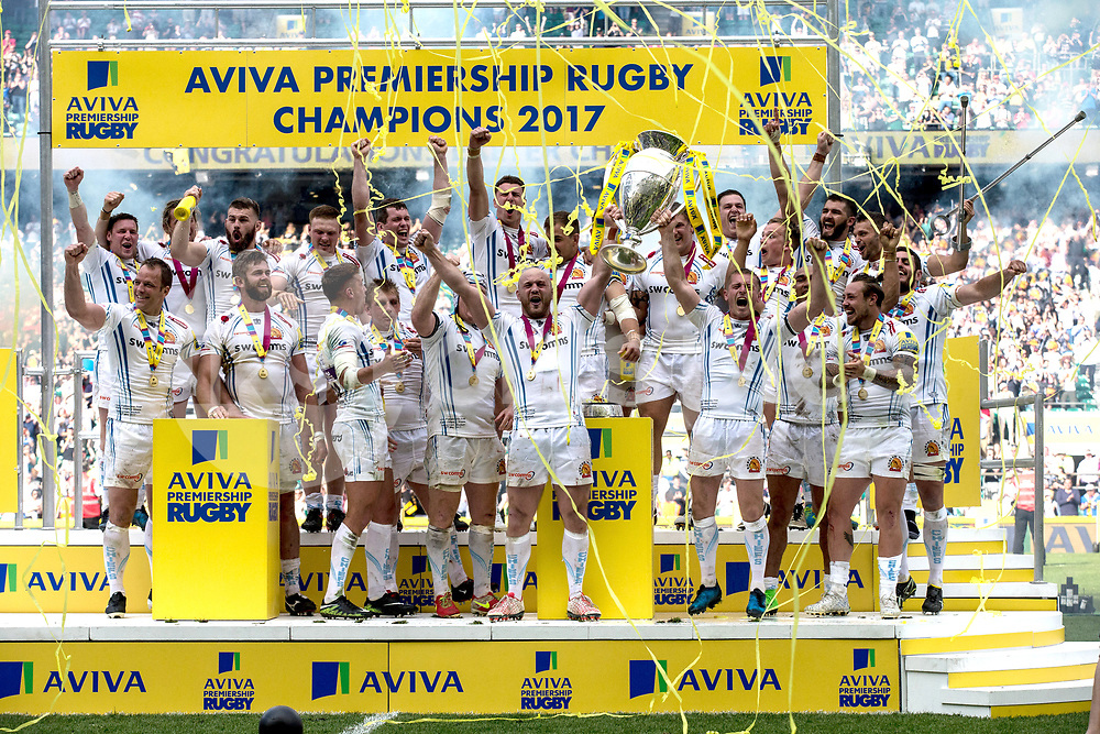 Exeter Chiefs Aviva Champions 2017 celebrations during the Aviva Premiership play-off Final between Wasps and Exeter Chiefs at Twickenham Stadium, Twickenham, United Kingdom on 27 May 2017. Photo by Steve Ball.