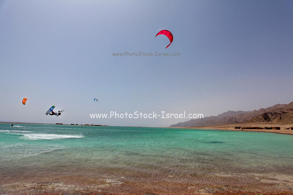 Kite surfing at the Blue Lagoon (Dahab), Sinai, Egypt