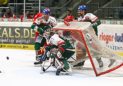 28.11.2014, Curt Frenzel Stadion, Augsburg, GER, DEL, Augsburger Panther vs Duesseldorfer EG, 21. Runde, im Bild Szene vor dem Augsburger Tor von Chris Mason (Torwart Augsburger Panther #31), mit Steffen T??lzer, Toelzer (Augsburger Panther #13), Brady Lamb (Augsburger Panther #2, hinten) stuerzt das Tor um // during Germans DEL Icehockey League 21th round match between Augsburger Panther and Duesseldorfer EG at the Curt Frenzel Stadion in Augsburg, Germany on 2014/11/28. EXPA Pictures © 2014, PhotoCredit: EXPA/ Eibner-Pressefoto/ Krieger<br /> <br /> *****ATTENTION - OUT of GER*****