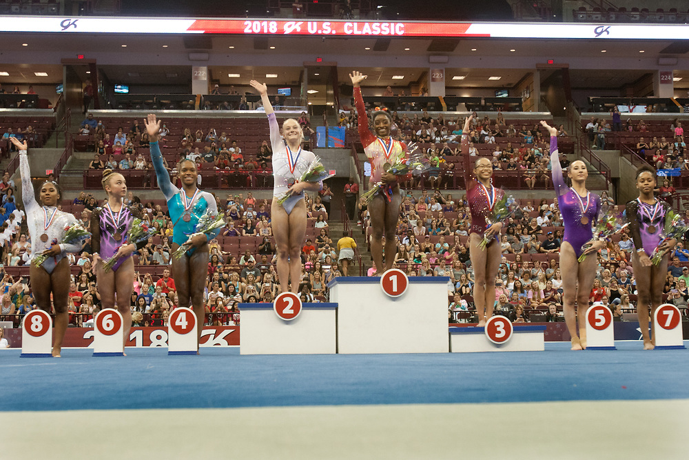 USA Gymnastics GK Classic - Schottenstein Center, Columbus, OH - July 28th, 2018. The winners of the allround competition wave to the crowd at the Schottenstein Center in Columbus, OH; in the USA Gymnastics GK Classic in the senior division. Simone Biles won the allround with Riley McCusker second and Morgan Hurd third. - Photo by Wally Nell/ZUMA Press