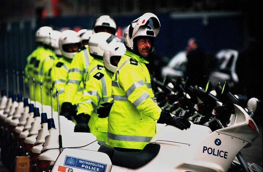 Chinese President Jiang Zemin State visit to Britain Oct 1999 .Police motorcycle outriders  wait outside Chinese President Jiang Zemin hotel to escort him during his second day of his state visit to Britain .