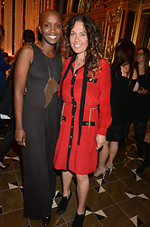 Left to right, TIFFANY PERSONS and TARA SMITH at the Cash & Rocket Tour Announcement Launch Lunch in association with McArthur Glen was held at The Grill, The Dorchester, Park Lane, London on 12th March 2015.