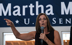 December 18, 2018 - Gilbert, Arizona - FILE PHOTO: Arizona Gov. Doug Ducey is appointing Republican Rep. MARTHA MCSALLY to the Senate. McSally narrowly lost a race this year for Arizona's other Senate seat to Democrat Kyrsten Sinema. McSally will replace GOP Sen. Jon Kyl, who is resigning months after Ducey selected him in September to temporarily fill the seat of former Sen. John McCain, who died in August. PICTURED: October 12, 2018 - Gilbert, Arizona, U.S - Republican Martha McSally campaigns for the US Senate seat from Arizona which was held by Sen. Jeff Flake who is retiring. (Credit Image: © Christopher Brown/ZUMA Wire)