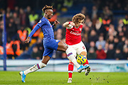 Arsenal defender David Luiz (23) clears the ball from Chelsea forward Tammy Abraham (9) during the Premier League match between Chelsea and Arsenal at Stamford Bridge, London, England on 21 January 2020.