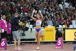 London, 2017 August 06. Katarina Johnson-Thompson at the start of the women's heptathlon 800m on day three of the IAAF London 2017 world Championships at the London Stadium. © Paul Davey.