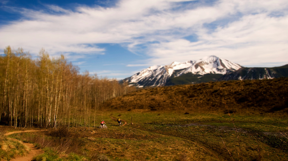 Everett Garcia and Dave Bunt are miniaturized by the vastness of their environs. Upper Loop Trail, Crested Butte, CO.