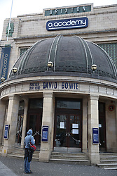 © Licensed to London News Pictures. 11/01/2016. London, UK. Brixton's O2 Academy pays tribute to David Bowie. The Death of David Bowie has been announced. Bowie was born in Brixton.  Photo credit: Peter Macdiarmid/LNP