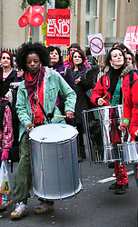 © under license to London News Pictures. 05/03/2011. Million Women Rise, demonstration against male violence  today (05/03/2011) March through Trafalgar Square, London. Photo credit should read Alan Roxborough/LNP