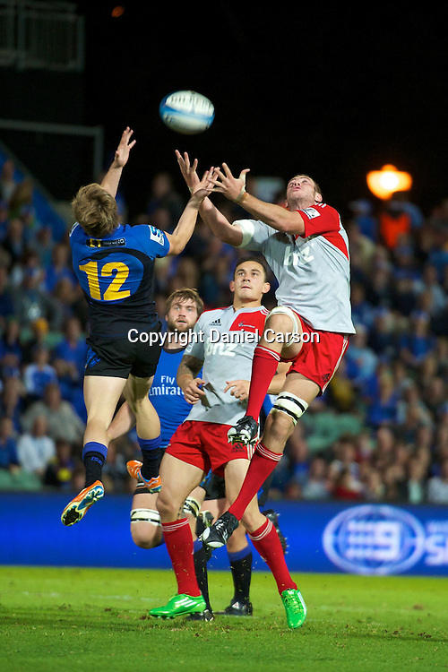 James O'Connor and Luke Romano contest a high ball. Western Force v Canterbury Crusaders. Super 15 Rugby Match. Perth, Western Australia, nib Stadium. Saturday 30th April 2011. Photo: Daniel Carson|PHOTOSPORT