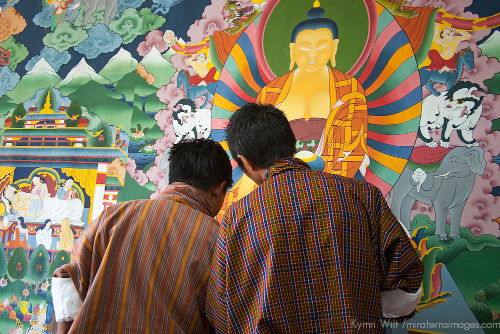 Asia, Bhutan, Thimpu. Students of Thangka painting at the Institute of Zorig Chusum.