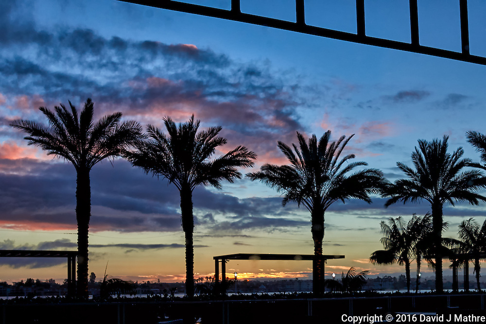 Sunset over the San Diego harbor from the Hilton lobby. The night before boarding the MV World Odyssey for the Semester at Sea, 2016 Spring Semester Voyage. Image taken with a Leica T camera and 23 mm f/2 lens (ISO 100, 23 mm, f/7, 1/60 sec).