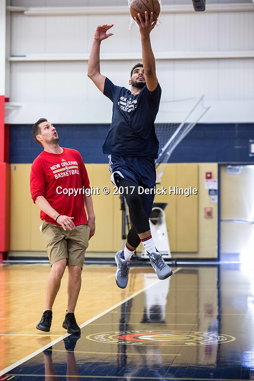 Sanjay Lumpkin shoots during New Orleans Pelicans summer league practice in Metairie, La. Tuesday, July 4, 2017.