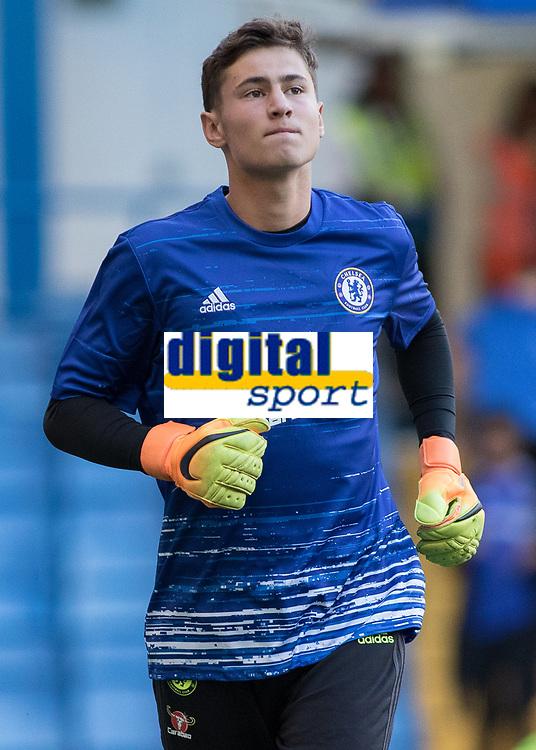 Football - 2016/2017 Premier League - Chelsea V West Ham United. <br /> <br /> Bradley Collins of Chelsea warms up at Stamford Bridge.<br /> <br /> COLORSPORT/DANIEL BEARHAM