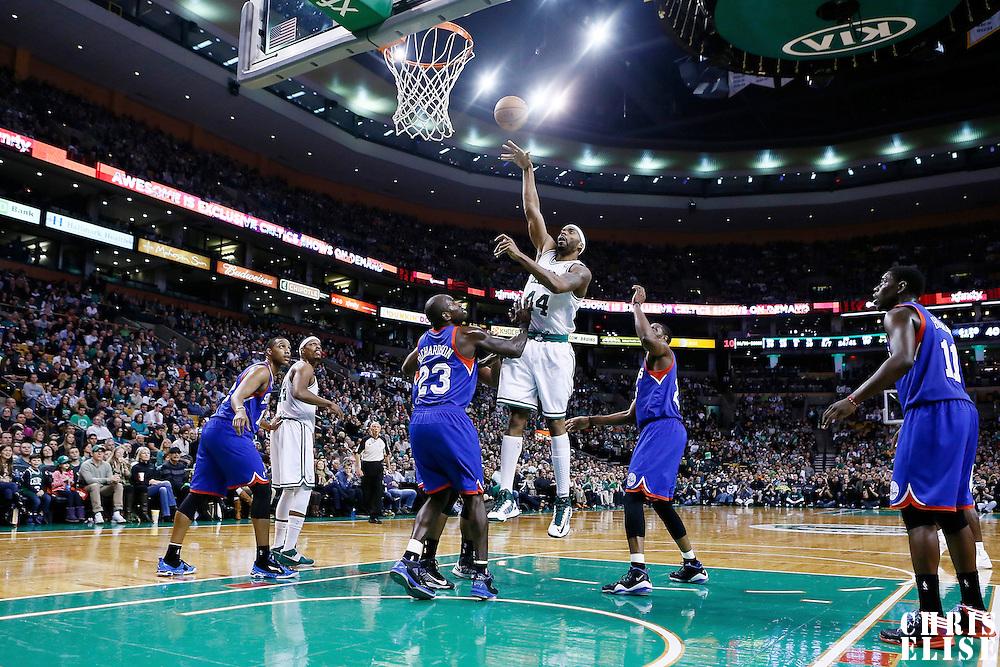 08 December 2012: Boston Celtics power forward Chris Wilcox (44) goes for the skyhook over Philadelphia 76ers shooting guard Jason Richardson (23) during the Boston Celtics 92-79 victory over the Philadelphia 76ers at the TD Garden, Boston, Massachusetts, USA.