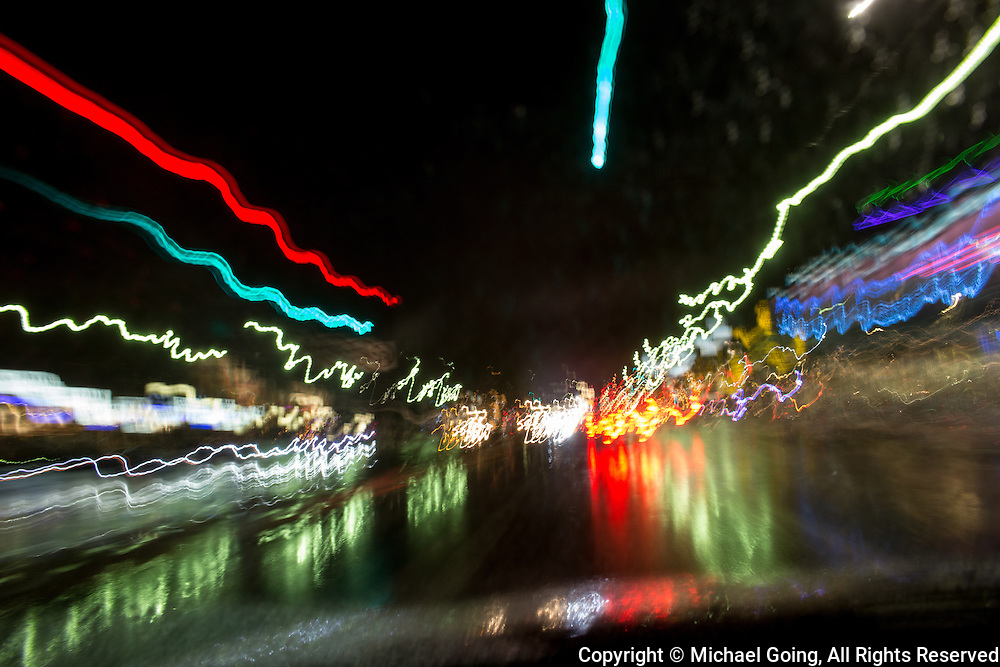 Light streaks & light trails POV through car windshield from a moving car