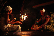 Kecak dancers in Batubulan light a fire for the culmination of their performance. Kecak is the most unique Balinese dance in which instead of music 100 men chant Cak. In the 1930s Ramayana story was added to the original trance dance.