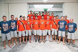 Team photo during press conference of RK Gorenje before new handball season 2013/14 on July 31, 2013 in Gorenje, Velenje, Slovenia.  (Photo by Vid Ponikvar / Sportida.com)