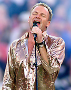 Pop superstar Sting performs during pre-game entertainment festivities at Super Bowl XXXV in Tampa, Florida, January 28, 2001. PHOTO BY:ERIC HAMPTON