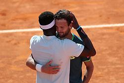 May 6, 2018 - Estoril, Portugal - Joao Sousa of Portugal (R ) hugs Frances Tiafoe of US after winning the Millennium Estoril Open ATP 250 tennis tournament final, at the Clube de Tenis do Estoril in Estoril, Portugal on May 6, 2018. (Credit Image: © Pedro Fiuza via ZUMA Wire)