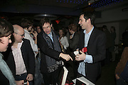 Toby Young, Nick Foulkes and Tom Sykes,  Book launch for ' What Did I Do last night' by Tom Sykes. Century Club. Shaftesbury Ave. London. 16 January 2006. -DO NOT ARCHIVE-© Copyright Photograph by Dafydd Jones. 248 Clapham Rd. London SW9 0PZ. Tel 0207 820 0771. www.dafjones.com.