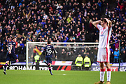 Portsmouth striker Conor Chaplin (19) scores a goal and celebrates 1-2 during the EFL Sky Bet League 1 match between Milton Keynes Dons and Portsmouth at stadium:mk, Milton Keynes, England on 10 February 2018. Picture by Dennis Goodwin.