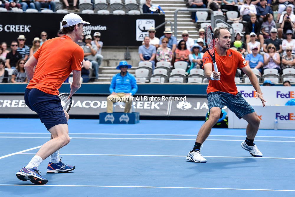 16.01.16 Sydney, Australia. Jamie Murray (GBR) and<br /> Bruno Soares (BRA) in action against Rohan Bopanna (IND) and Florin Mergea (ROU) during their mens doubles final match at the Apia International Sydney. Murray and Soares won the final 6-3,7-6.